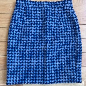 Michael Kors Collection Blue Houndstooth Skirt